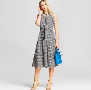 Gingham Ruffle Midi Dress